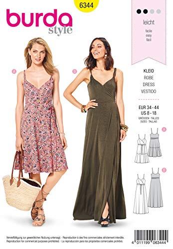 Burda Schnittmuster 6344, Kleid [Damen, Gr. 34-44] zum selber nähen, ideal für Anfänger [L2]