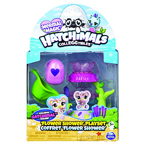 Hatchimals 6045501 - CollEGGtibles Spielset Blumendusche, mit exklusiver CollEGGtibles Mermal Magic Sammelfigur