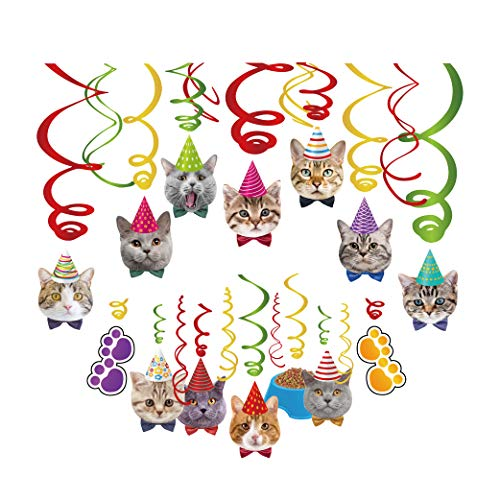 Kristin Paradise 30Ct Cat Face Hanging Swirl Decorations, Kitty Party Supplies, Meow Happy Birthday Theme Decor, Pet Paper Funny Favor for First 1st Bday