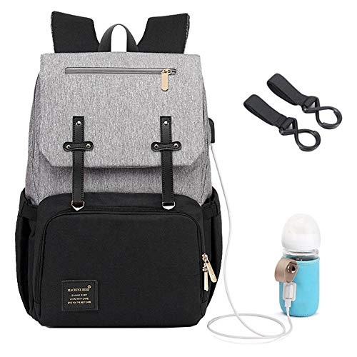 Mummy Diaper Bag Backpack Multi-Function Waterproof Travel Nappy Bags for Baby Care, Large Capacity,Stylish and Durable,USB Charging Port for Bottle Warmer (Gray-Black)