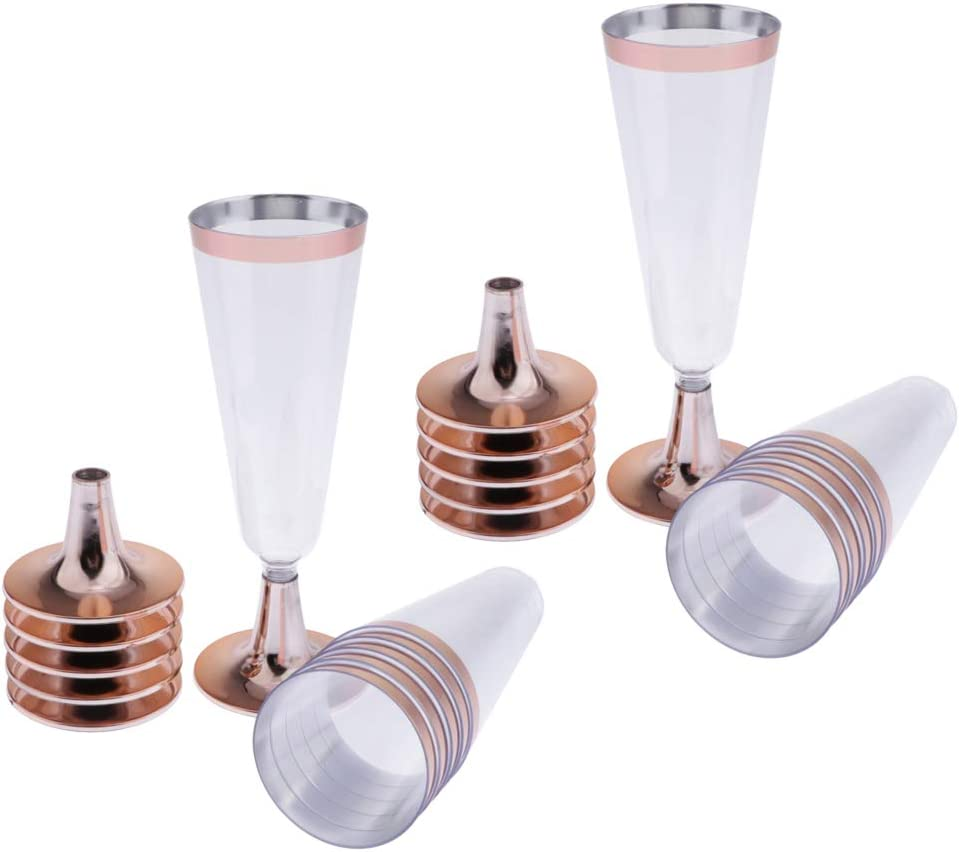 Flameer Set of 12 Plastic Champagne Rim with High material Glasses Rose Max 77% OFF Gold