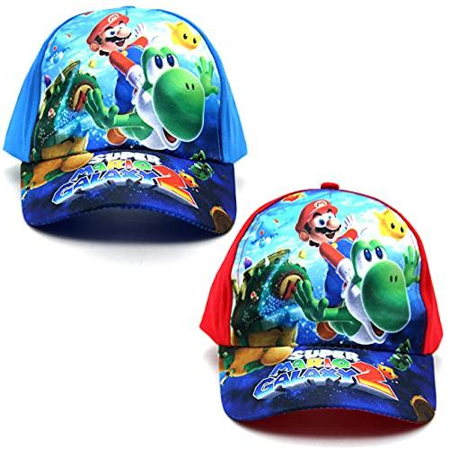 Tomicy Sombrero de Super Marío, Gorra Infantil, Mario niño niña Gorra de béisbol Plano Casual Hip Hop Sombrero Viaje al Aire Libre Sombrero para el Sol, 100% algodón, con Cierre de Velcro, 2 piezas