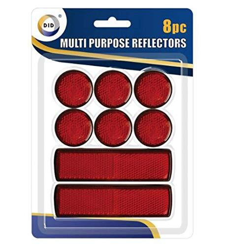 8pc Muliti Purpose Red Light Reflectors Rear Trailer Reflector Disks Caravan Bike
