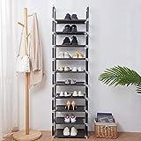FORUP 10 Tiers Stackable Shoe Rack, Adjustable Shoe Storage Organizer Shelf, Non-Woven Fabric Shoe Tower Shelf (Black)