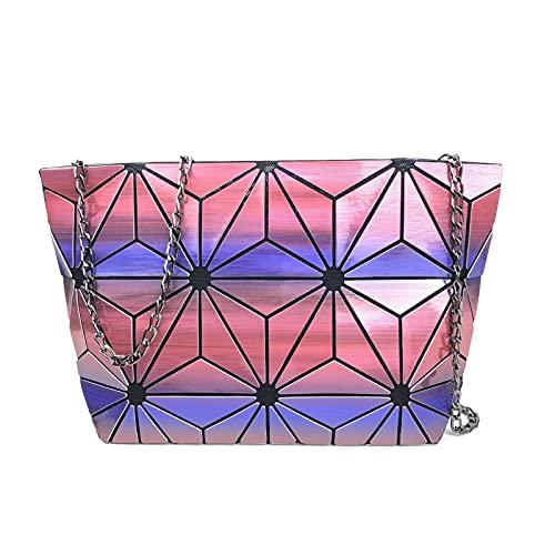 QIANJINGCQ nuevo todo-fósforo casual geométrico rombo bolso láser moda arco iris tendencia bolso plegable cadena mochila diagonal de un hombro