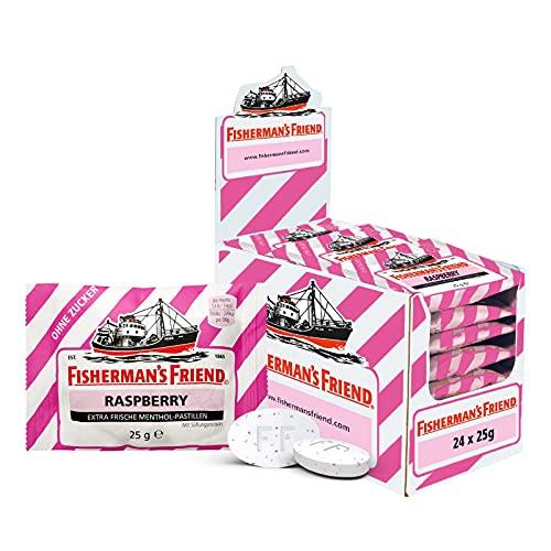 Fisherman\'s Friend Raspberry | Karton mit 24 Beuteln | Himbeere und Menthol Geschmack | Zuckerfrei für frischen Atem