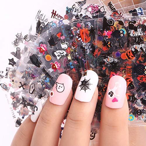 Halloween Nagel Sticker, 24 Blatt Halloween Nagel Aufkleber 3D Nagelaufkleber Wassertransfer Folie Nägel (Stil A)