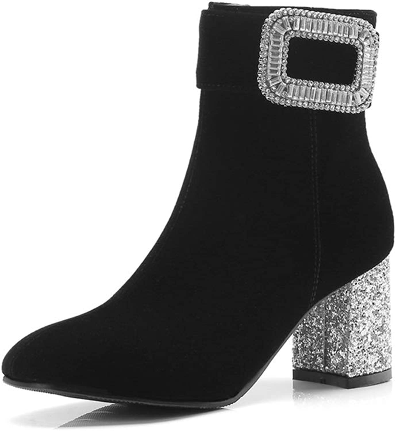 Womens Square High Heel Ankle Boots Zipper Flock Sexy Party Crystal Bling Decoration Square Toe Booties