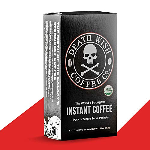 DEATH WISH COFFEE Instant Coffee Sticks [8 packs of single-serve packets   4.9 g   300mg of Caffeine] The World's Strongest Coffee, USDA Certified Organic