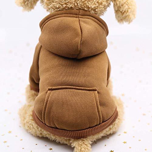 Zgywmz Huisdier Kat Hond Kleding Winter Warm Zacht Vest Harnas Puppy Kleine Hond Jas Kleding Hoodie met Pocket, XS, Rode Schotse ruit