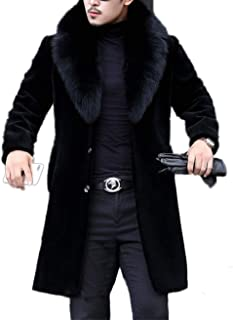 Long Faux Fur Coat Outwear Black Winter Parka Overcoat for Men