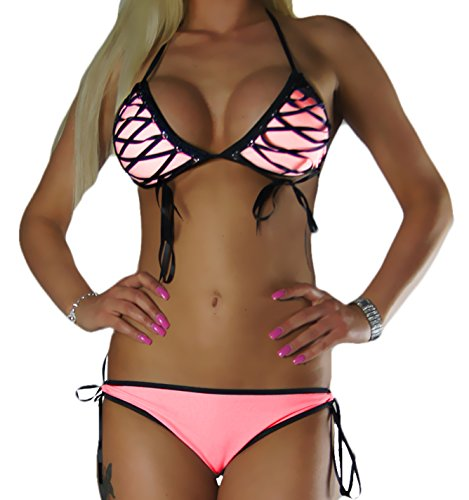 ALZORA Neckholder Damen Bikini Set Top und Hose Lachsfarben, 10323 (M)