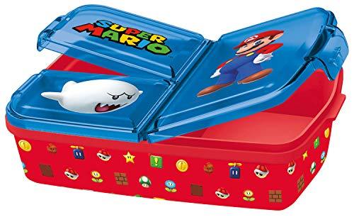 POS p:os Fiambrera con diseño de Super Mario, 33162, con 3 Compartimentos, Aprox. 14 x 18,5 x 5,5 cm, de plástico, sin BPA ni ftalatos, Ideal para el Desayuno, guardería y Escuela, Multicolor