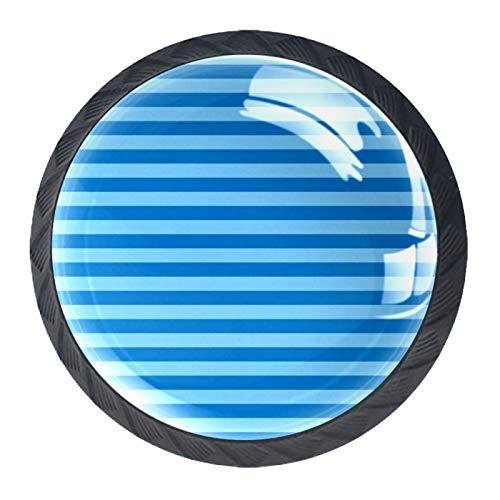 Tiradores de cajón con tirador de cristal redondo para el hogar, cocina, tocador, armario, azul, dos tonos, raya horizontal