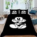 STTYE Funda de edredón de fondo negro, 3 piezas, tamaño doble, M-ickey Mi-nnie Mouse para niños, juegos de cama, 1 funda de edredón con 2 fundas de almohada