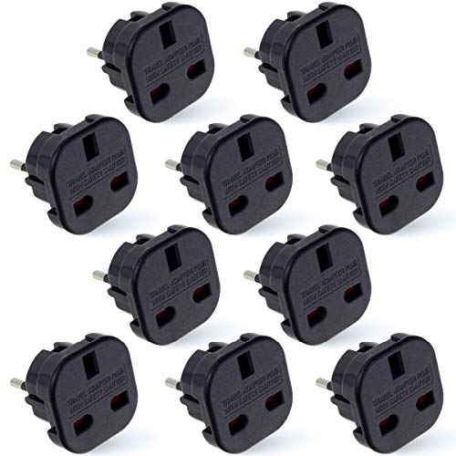 MOBIBAY 10 Pack EU Travel Adapter, UK to European Plug Adapter, Europe Converter Type C, E, F for Spain, France, Italy, Portugal, Germany, Netherlands, Greece, Poland, Turkey and More (Black)