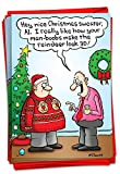 NobleWorks - 12 Cartoon Humor Christmas Cards with Envelopes - Adult Funny Comics, Boxed Holiday Greetings (1 Design, 12 Cards) - Man Boobs 3D Reindeer B1896