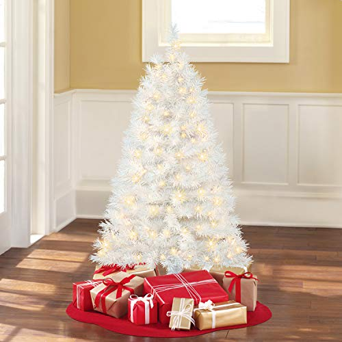 Holiday Time 4 Ft. Pre-Lit Clear White Indiana Spruce Artificial Christmas Tree