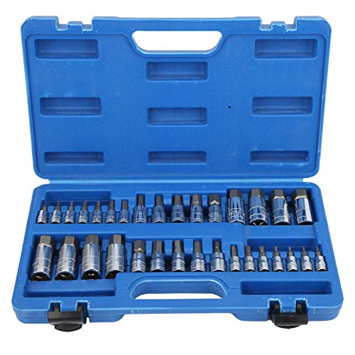 Tuercas Allen de 32 piezas, juego de llaves hexagonales de llaves de vaso de tuerca de metal ligero y herramientas de mano de acero aleado con caja de almacenamiento portátil