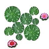 WTpin 10 Piezas Flotantes Lirio de Agua Artificial, Artificial de Hoja de Loto, Flores flotantes Artificial Lotus, Se Utiliza en Estanques, Acuarios y Espectáculos de Teatro, Etc