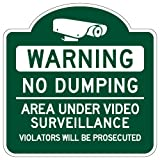 STOPSignsAndMore - Mission Style No Dumping Area Under Video Surveillance Sign - Reflective | Rust Free Aluminum - 18x18 (Hunter Green)
