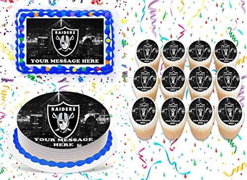 Oakland Raiders Cake Topper Edible Image Personalized Cupcakes Frosting Sugar Sheet (2' Cupcakes (12))