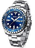 Montre Homme Bracelets Etanche Lumineuses Classique Montres en Acier Inoxydable Bleu Grand Cadran Date Analogique Robe Mode