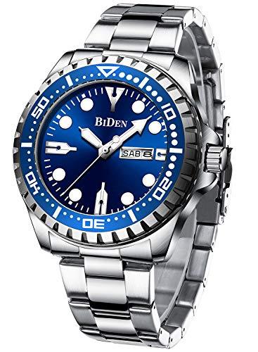 Herren Uhr Analog Quarz Business Blau Zifferblatt Wasserdicht Datum Großes Leuchtende Armbanduhr Herren Edelstahl Band Silber