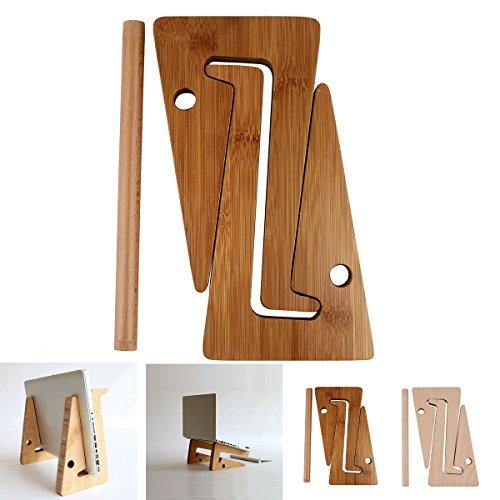 Dibiao - Soporte universal para ordenador portátil, soporte de madera, soporte para tableta, soporte de escritorio para portátil, tableta, portátil, plegable, (Bamboo)