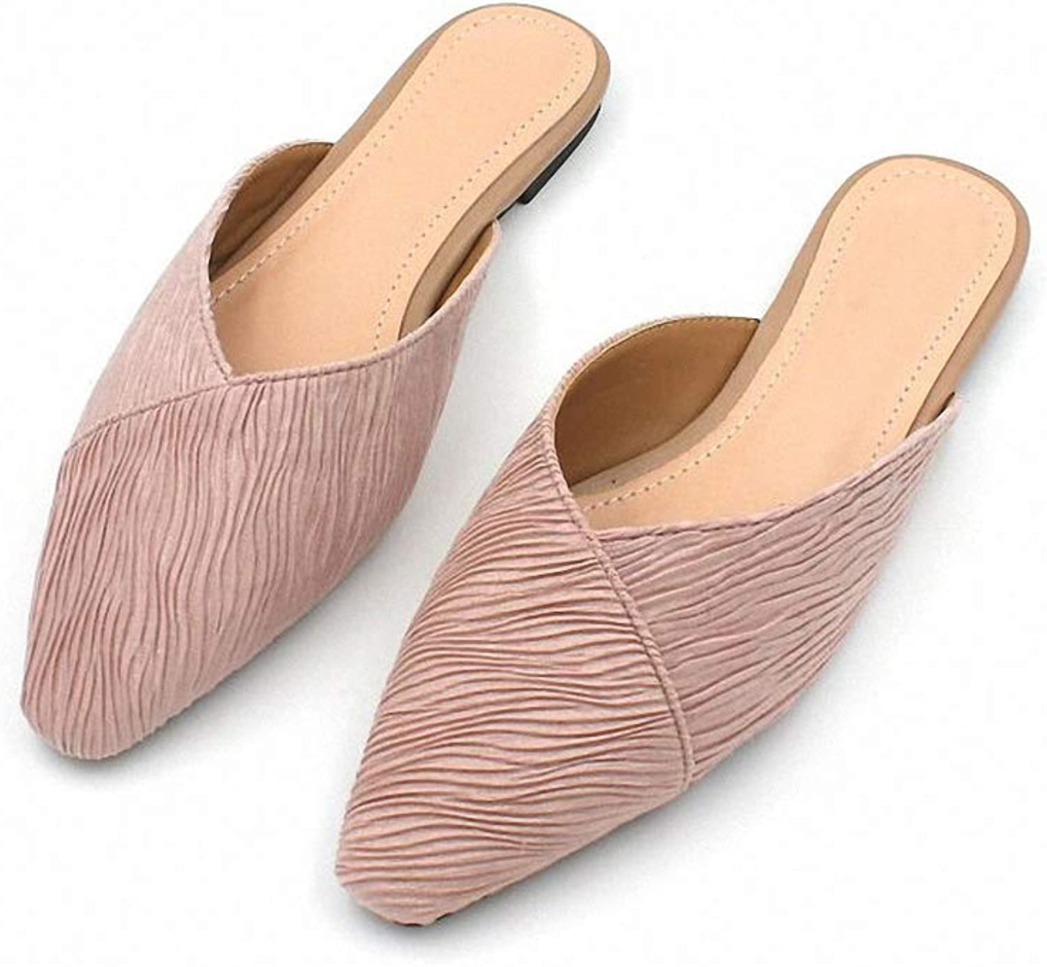 Tebapi Womens Low-Heeled Sandal shoes Spring New Wild Cloth Outside Wearing Retro Half Slippers Women