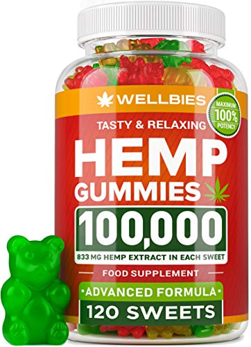 Hemp Gummies 100,000 - Premium Hemp Gummy Bears for Stress & Anxiety Relief - Made in USA - Hemp Extract Natural Calm Gummies - Efficient with Inflammation, Stress & Sleep Issues - Omega 3 Gummies