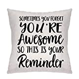 Lecent Throw Pillow Covers-Inspirational Gifts for Women, Sometimes You Forget You're Awesome So This Is Your Reminder, Birthday Gifts for Women, Best Friend, Daughter, Mom, Coworker
