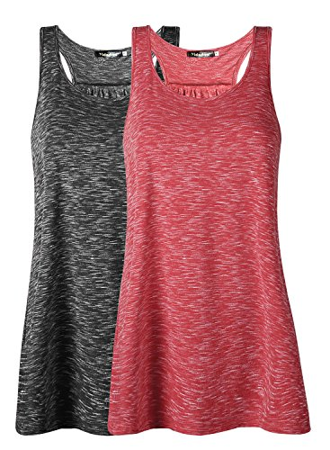 Damen Tank Top Sommer Sports Shirts Oberteile Frauen Baumwolle Lose Ärmellos for Yoga Jogging Laufen Workout-br-l-2pc