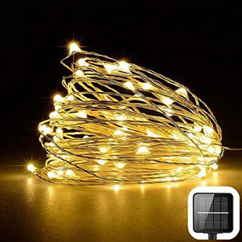 Zonne-koperen draadlamp met 2 functies, zilverdraad 50LEDIP65 waterdichte zonne-tuinlamp voor buiten-koperdraad 50LED warmwit
