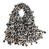 Leopard Pattern Printed Fringed Scarf Long Large Animal Print Shawl Wrap for Women(Floral 1)