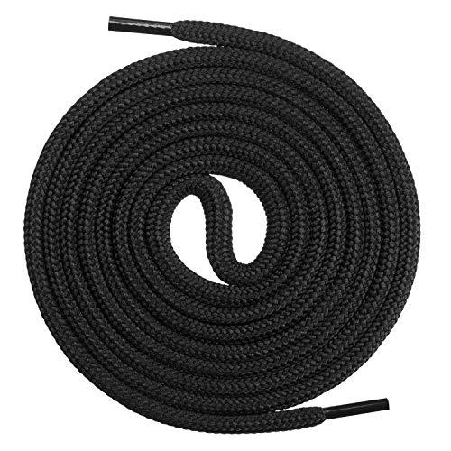 Mount Swiss runde Premium-Schnürsenkel für Arbeitsschuhe, Wanderschuhe und Trekkingschuhe - Polyester - ø 4,5 mm - sehr reißfest - Farbe Schwarz Länge 220cm