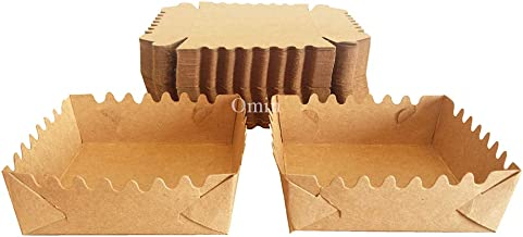 Omin Mini Kraft Disposable Square Paper Baking Supplies Loaf Pan Liners Size 4 x 4 x 1.2 Inch Pack of 100