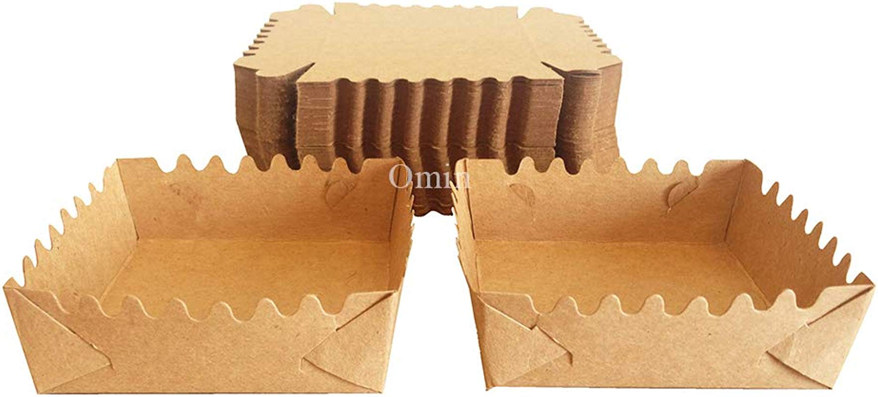 Omin Mini Kraft Disposable Square Paper Baking Supplies Loaf Pan Liners Size 4 X 4 X 1 2 Inch Pack Of 100