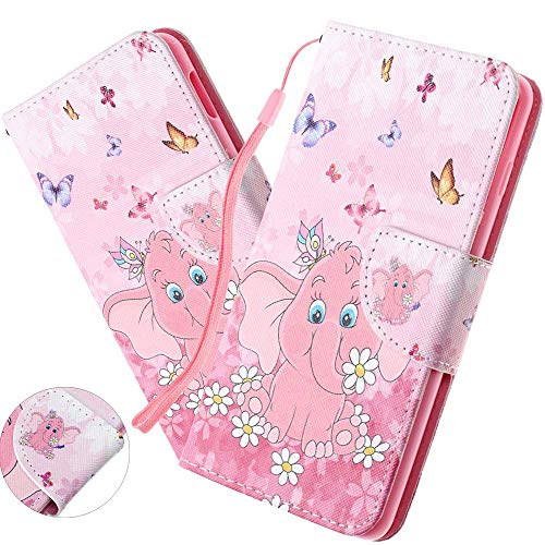 Preisvergleich Produktbild HMTECH Galaxy A80 Hülle, Samsung Galaxy A80 Handyhülle Tier Schmetterling Blume Mädchen Flip Case PU Leder Cover Magnet Schutzhülle Tasche Ständer Handytasche für Samsung Galaxy A80, HX Pink Elephant