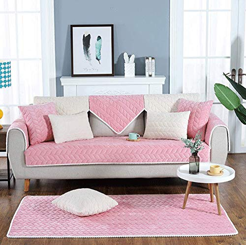 Sofa Cover for Sectional Couch L Shape Living Room Leather Chaise Loveseat Plush Sofa Covers Modern Non-Slip Slipcover for Dogs Cats Pet Reclining Armrest Backrest Cover,Pink-90x240cm/35'x95'