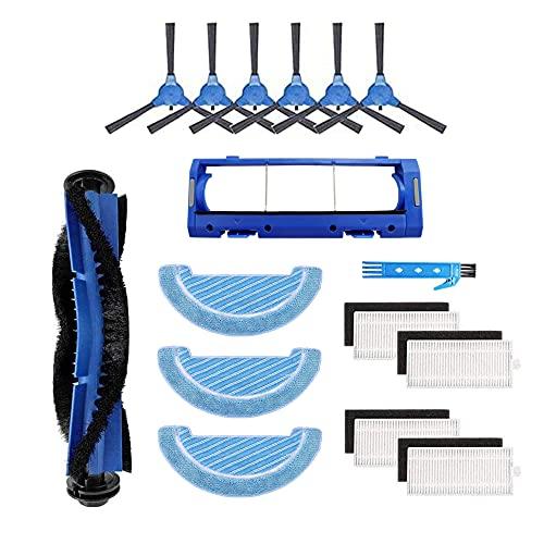 Kit de accesorios para Cecotec Conga 1090 Paquete de piezas de repuesto para robot aspirador con 1 cepillo principal, 4 filtros Hepa, 6 cepillos laterales y 3 paños para fregona