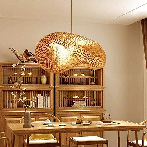 HJW Vintage Weben Kronleuchter Natürlichen Bambus Und Rattan Gewebt Hängeleuchten Käfig Hängelampe Kreative Rattan Der Vogelnest Kronleuchter, handgemachte Bambus Rattan-Lampe E27,D80cm