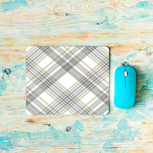 Grid Mouse Pad Striped Line Geometric Square Rectangle Mesh Plaid Regular Gaming Mouse Pad Non-SlipRubber Base for Laptop Keyboard Computer Office Grey Yellow 11.8-inch by 9.85-inch