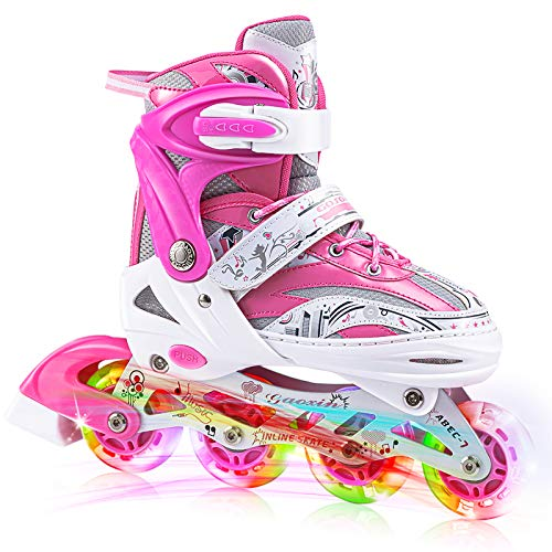 VERENO Inline Skates 4 Size Adjustable for Kids,with All Wheels Light up,Fun Illuminating Roller Skates for Girls and Ladies - Large