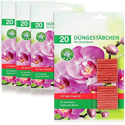 com-four® 80x Düngestäbchen für Orchideen, ausgewogener Orchideendünger, für gesunde Entwicklung, sattes Grün und leuchtende Blütenkraft