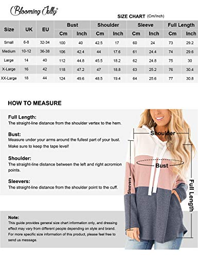 Blooming Jelly Womens Striped Hoodies Color Block Long Sleeve Tunic Sweatshirt Drawstring Jumper Tops with Pockets (M, Grey)
