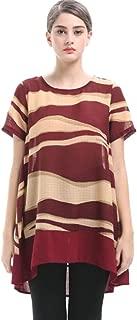 Women's Plus Size Chiffon Short Sleeve T-Shirt Round Neck Stripe Printed Tops Casual Loose Irregular Thin Summer Women's T-shirt (Color : B, Size : 4XL)