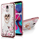 LG Stylo 5 Case,Glitter Crystal Butterfly Heart Floral Cute for Girls Women,Stylo 5 Plus/Stylus 5/LG Stylo 5V/LG Stylo 5X Case Slim Soft TPU Clear Case with Ring Stand for LG Stylo 5 (Rose Gold)
