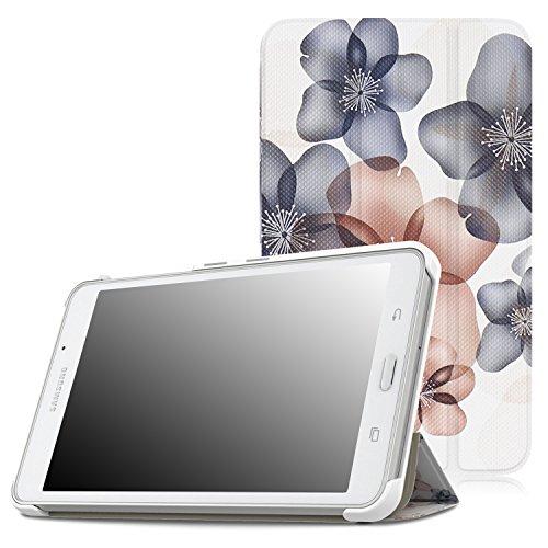 MoKo Samsung Galaxy Tab A 7.0 Hülle - Ultra Slim Lightweight Schutzhülle Smart Cover mit Standfunktion für Samsung Galaxy Tab A 7.0 Zoll SM-T280/SM-T285 2016 Tablet-PC,Blumen Marineblau