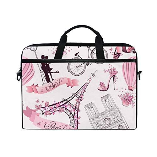Linomo Computer Bag Floral Eiffel Tower Pink Laptop Sleeve Case Briefcase Messenger Sleeve Laptop Shoulder Bag fits 13 Inch 14 Inch 14.5 Inch Laptop for Women Men Office Kids School